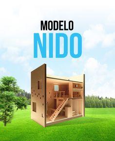 Con todos los servicios en tan sólo 27 m2, NIDO es la casa ideal para iniciar una vida solo o en pareja. Está diseñada con una doble altura que une el área común y a la habitación sobre un tapanco muy cómodo para crear una sensación de espacio y confort.
