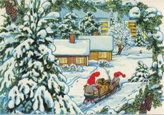 """Photo from album """"Marja-Liisa Pitkäranta on Yandex. Views Album, Elves, Gnomes, Christmas Cards, Brownies, Painting, Collection, Art, Pictures"""