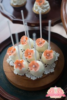 Pretty cake pops at a Vintage Wedding! See more party ideas at CatchMyParty.com!