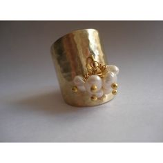 Multistone Real Pearls Hammered Bronze Ring Adjustable Cuff Modern... ($27) ❤ liked on Polyvore featuring jewelry and rings