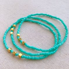 A personal favorite from my Etsy shop https://www.etsy.com/listing/493484785/turquoise-stretch-bracelets-thin-beaded