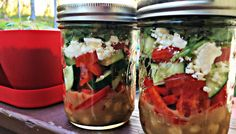 Recipes for salads/snacks in a mason jar.