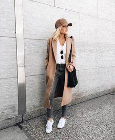 Camel longline jacket and white tennis #styleblogger