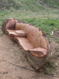 Carved Log Bench
