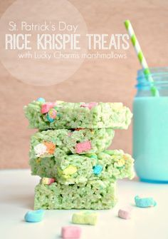 Lucky green rice krispie treats for St. Patrick's Day!