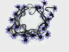 Lilac and white Oya Flowers Crochet Lariat Necklace  by Nakkashe