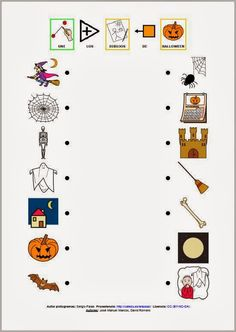 Actividad de asociación de vocabulario de Halloween.