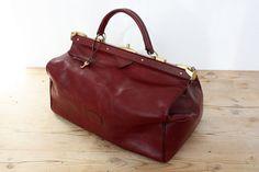 "French Couture ""Jacques Esterel""  Leather Week-end Bag, Speedy Bag Doctor Bag, Large Handbag / Burgundy Color  / from the 60's"