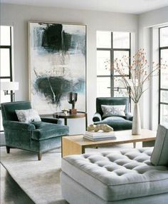 living room - Mathew Leverone designed SF home, love the huge canvas defining the space!  Great blend of teals and greys to create cool tailored interior scape. Interior design by Leverone Design, San Francisco