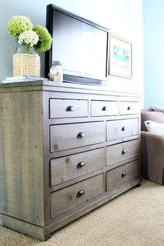 The finishing touch to our master bedroom makeover was this gorgeous dresser from Wayfair! Cozy Bedroom, Bedroom Decor, Coastal Cottage, Cottage Farmhouse, Farmhouse Style Furniture, Master Bedroom Makeover, Dresser As Nightstand, Touch, Bedroom Inspiration