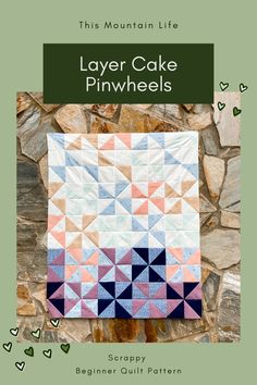 Half Square Triangle tutorial | Perfect beginner quilt project | make a scrappy quilt or use a layer cake precut bundle Pinwheel Quilt Pattern, Scrappy Quilt Patterns, Scrappy Quilts, Baby Quilts, Quilting Projects, Quilting Designs, Layer Cake Quilts, Half Square Triangle Quilts, Modern Quilting