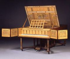 Charles Robert Ashbee (designer), John & Sons Broadwood (maker), Walter Taylor (painter) Semi-grand piano designed by C R A Ashbee in 1898-9, and made by the Guild of Handicraft in 1900. It was made as a wedding present from Ashbee to his new wife, Janet Forbes, who was a keen pianist. The painting was done by Walter Taylor, who had been an apprentice at the Guild of Handicraft, and who had gone on to work at Morris & Co. The words and images were taken from a poem by Ashbee Beethoven in…