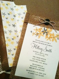 Burlap Bridal Shower Invitation with Recipe by CreationsBySandyh, $3.75