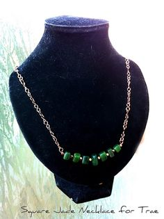 Vintage copper handformed wire chain with New Zealand jade cubes