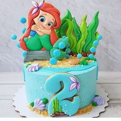 50 Most Beautiful looking Disneys Ariel Cake Design that you can make or get it made on the coming birthday. Little Mermaid Birthday Cake, Toddler Birthday Cakes, Little Mermaid Cakes, Birthday Cake Girls, Birthday Cake Disney, Princess Birthday Cakes, Princess Cupcakes, 4th Birthday, Baby Cakes