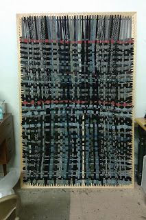 "How-To Make A 6' x 4' Interactive Rug Loom: (With a pile of cloth strips from old clothes & bedding you can make yourself a OOAK rug with this.).What you need to make a Loom: Enough 1x3 board to cut two 6' lengths and two 4' lengths. 4 ""L"" brackets and installation screws. 224 #8x 2"" construction screws, the kind with the top 1/2"" smooth. Drill. Measuring tool (ruler, yardstick, etc.). Table saw or miter box and handsaw."