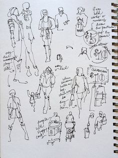 Sketching People:At the mall, just before Christmas, San Jose, california | by suhita1