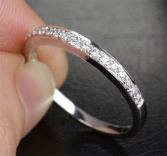 Natural H SI Diamonds Solid 14K White Gold Pave Half Eternity Wedding Band Ring on Etsy, $239.00