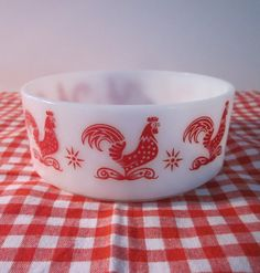 Small Vintage Rooster Bowl - Red and White