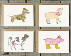 Get 15% off on Etsy using the coupon code PIN99 Box set of 8 animal cards Set of greeting cards. by amylindroos