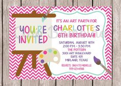 PRINTABLE / Art Birthday Party Invitation / You by ciaobambino