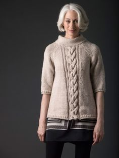 Classic Pullover with cable down front. Easy to lengthen the sleeves if you prefer.