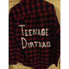 Unisex Teenage Dirtbag Flannel ($25) ❤ liked on Polyvore featuring tops, dark olive and women's clothing