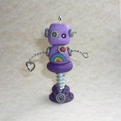 cute...Purple Robot w. rainbow - Polymer Clay figure by freeheart 1