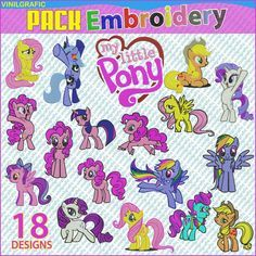 My Little Pony set of 18 Embroidery Designs Kit by VGSTOREUS