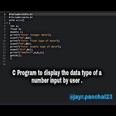 C program to display the data type of a number input by user. - C Programming - Ideas of C Programming - C program to display the data type of a number input by user. The C Programming Language, Computer Programming Languages, Computer Coding, Computer Technology, Computer Science, Learn C, Feedback For Students, Information Technology, New Job