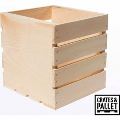 "Crates and Pallet Square Wood Crate 9.5""W x 9""D x 9.5""H $14.98"
