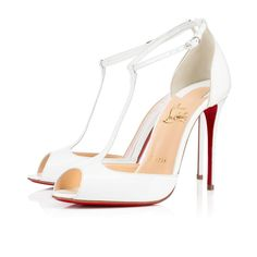 Get the must-have pumps of this season! These Christian Louboutin White Senora 100 Patent Open Toe T-strap Pumps Size EU 36 (Approx. Pumps Heels, Stiletto Heels, High Heel Pumps, Louboutin Pumps, Christian Louboutin Outlet, Manolo Blahnik Heels, T Strap Sandals, Ankle Strap, Patent Leather Pumps