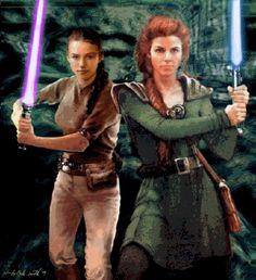 Jaina Solo & Mara Jade Skywalker. I'm not super into the extended universe, but I LOVE that Jaina looks a lot like Natalie Portman (aka Padme, her grandmother).