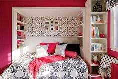 Bookshelves by the bed