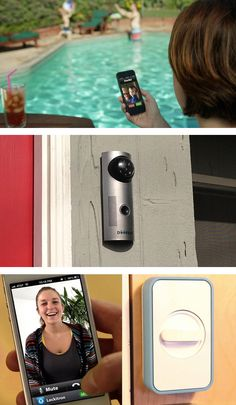 When someone is at the door, the Doorbot sends video and audio of the person to your phone. You can then open the door with the press of a button. #tech #gadget #security