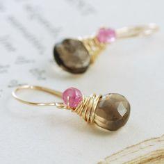 Pink Sapphire Smoky Quartz Earrings, 14k Gold Fill Dangle, Handmade