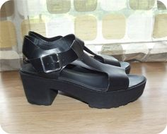 Vintage 90s Platform Shoes  1990s Shoes  T-Strap by IntrigueU4Ever