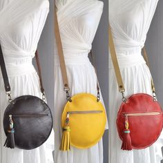 Round Leather Bag Brown Leather Round Bag Round Crossbody Bag Leather Tassel Bag Circle Leather Clutch Gift For Her Convertible Purse Leather Tassel, Leather Crossbody Bag, Leather Purses, Leather Handbags, Crossbody Tote, Tote Bag, Round Bag, Purses And Handbags, Luxury Handbags