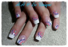 Nails done by Angelique Allegria. #french #dots #multicolour #retro #nailart #BeUnique @angiedsa
