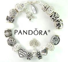 authentic pandora silver charm bracelet with european charm beads Valentines Day #Pandoralobsterclawclasp #European