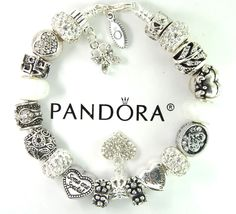 authentic pandora silver charm bracelet with european charm beads Valentines Day #Pandoralobsterclawclasp #European