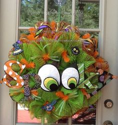 Halloween Spooky Mesh Wreath, Halloween Wreath, Fall Wreath, Deco Mesh, Door Wreath, Home Decor, Poly Mesh