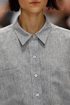 minimal grey button-down shirt
