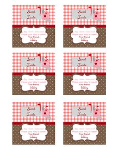 Sweet treat Valentines Tags to print