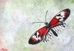 """Aquarelle """"Papillon rouge et blanc"""" par Savousepate http://www.alittlemarket.com/peintures/fr_aquarelle_papillon_rouge_et_blanc_non_encadree-6673809.html"""
