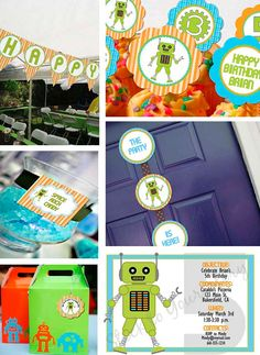 Complete Boy Robot Birthday Party Line  Stick by StickToYourStory, $85.00... But I can make it for zero dollars and zero cents!