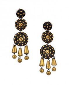 Three Tier Black Round Terracotta Earrings