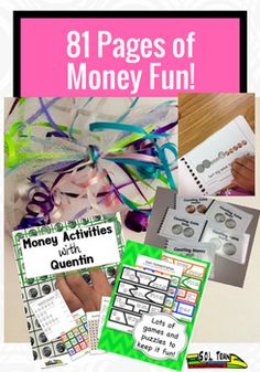 Are you looking for a variety of money activities? This pack has over eighty pages of fun math activities that include games and worksheets. It also includes our popular coin books that are great for math centers. These materials work well for first and second grade. The lesson plan provides a detailed schedule on how to teach money for each day, centered on our original S.O.L. Train songs. It targets different modalities as the students learn how to count money.