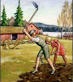 Illustration by Rudolf Koivu (Finnish, 1890 - Vintage Children, Finland, Illustrators, Illustration Art, Retro, Drawings, Artwork, Prints, Painting