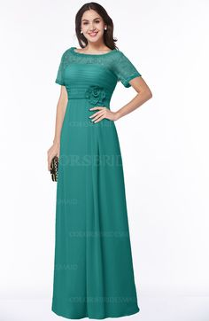 cb745e2e0d1 Emerald Green Traditional Short Sleeve Zip up Chiffon Floor Length Flower Bridesmaid  Dresses (Style D52393